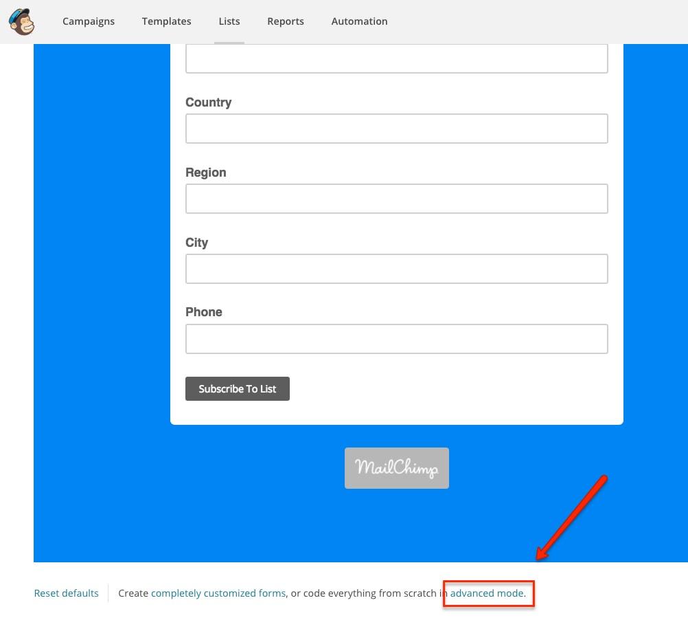 Mailchimp Advanced Mode Forms
