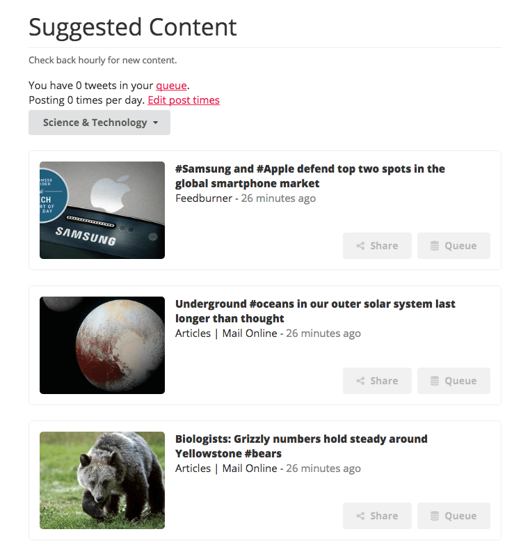 ManageFlitter Suggested Content