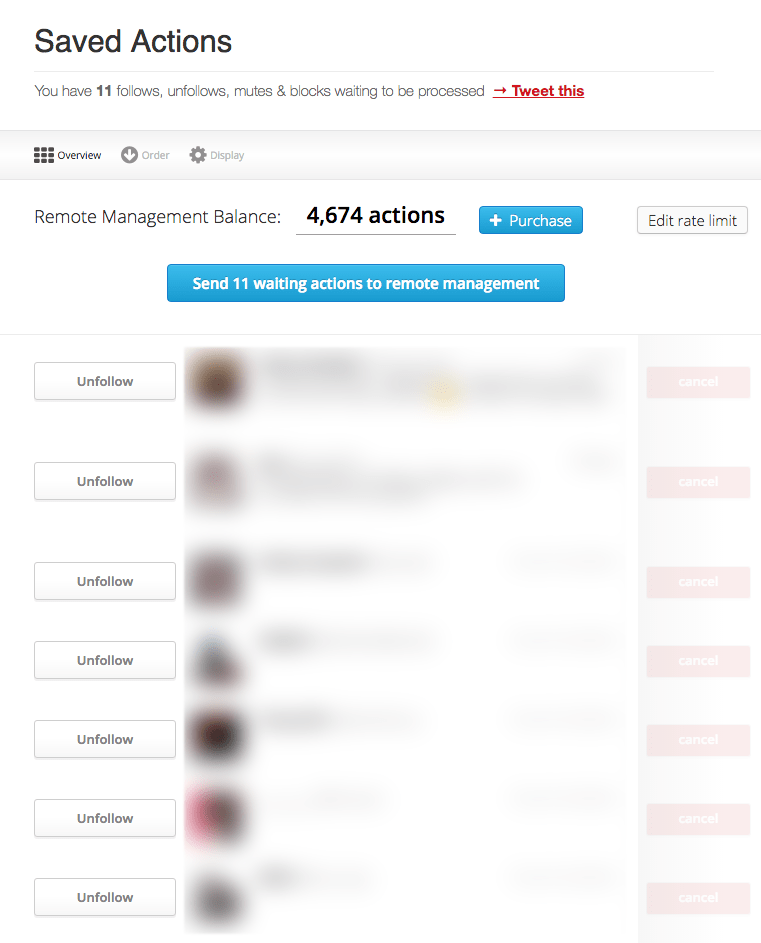 ManageFlitter Saved Actions