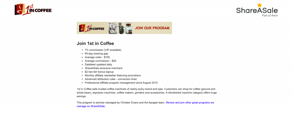 1stincoffee affiliate program