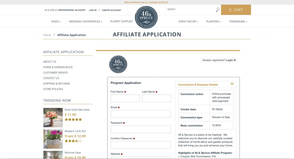 46 and Spruce Affiliate Program