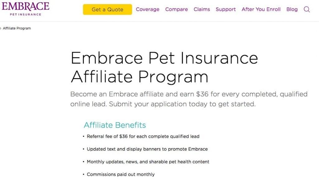 Embrace Pet Insurance Affiliate Program