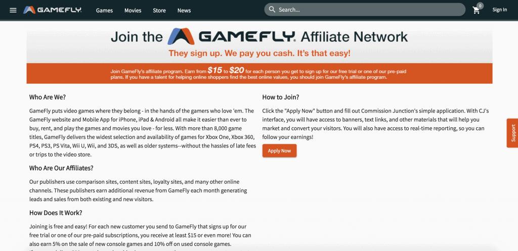 GameFly Affiliate Program