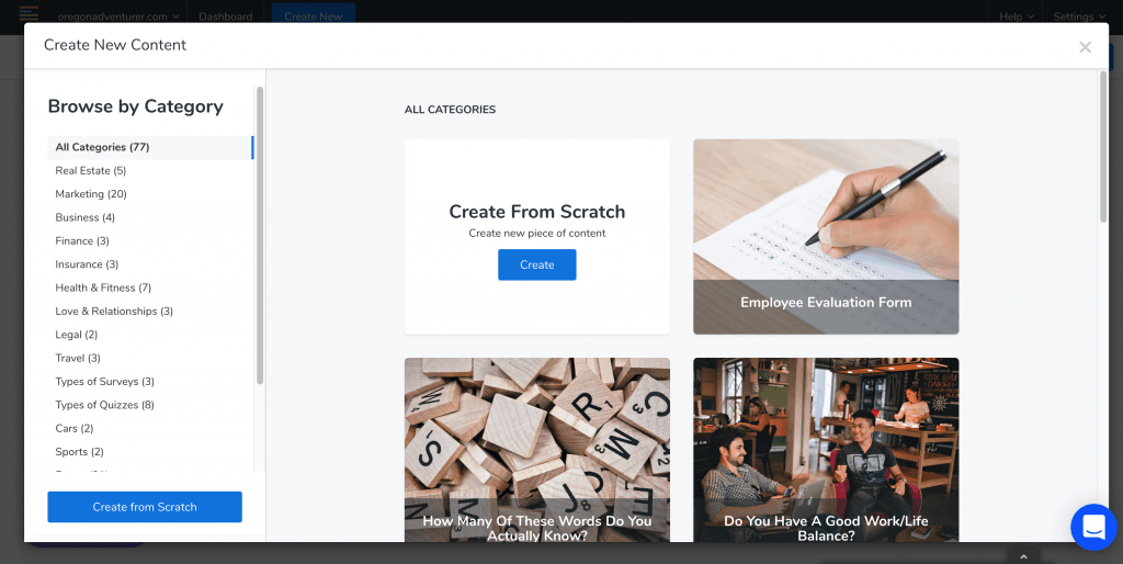 LeadQuizzes Createpage