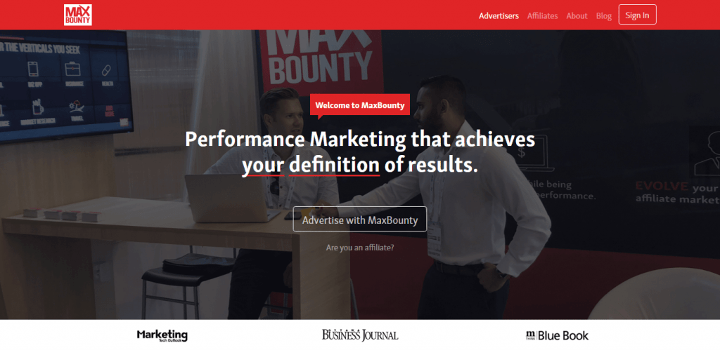 MaxBounty Homepage