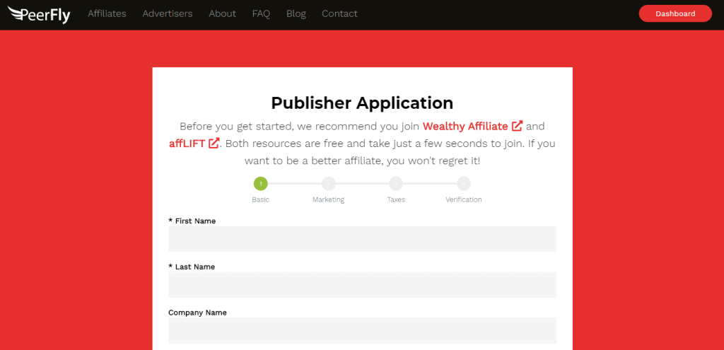 Peerfly Application Process