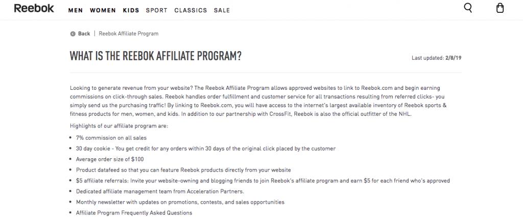 Reebok Affiliate Program
