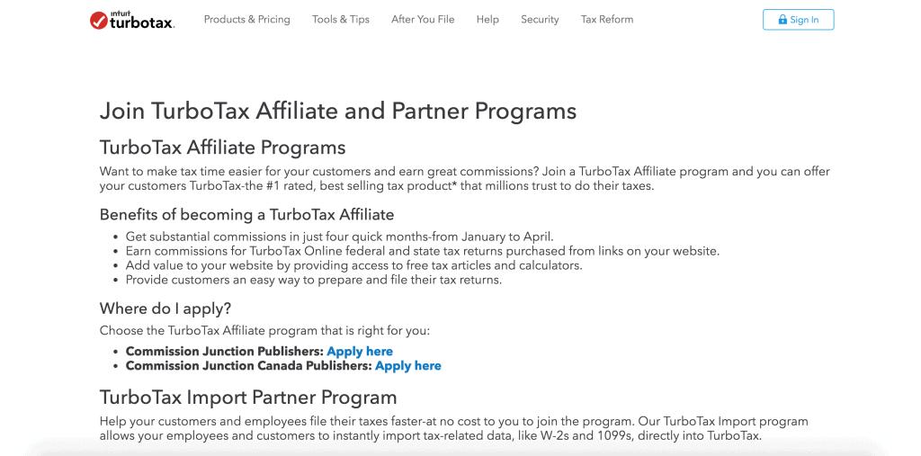 TurboTax Affiliate Programs
