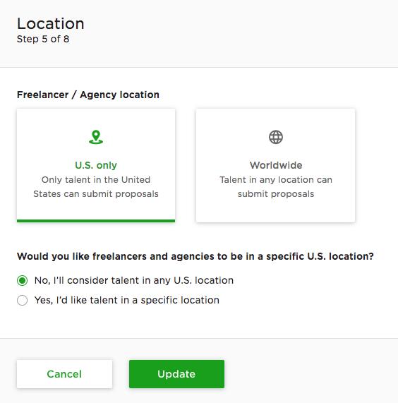 UpWork Location Preferences