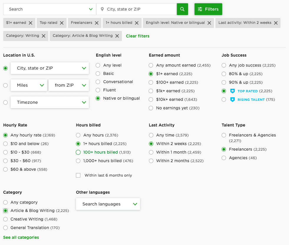UpWork Search Filters