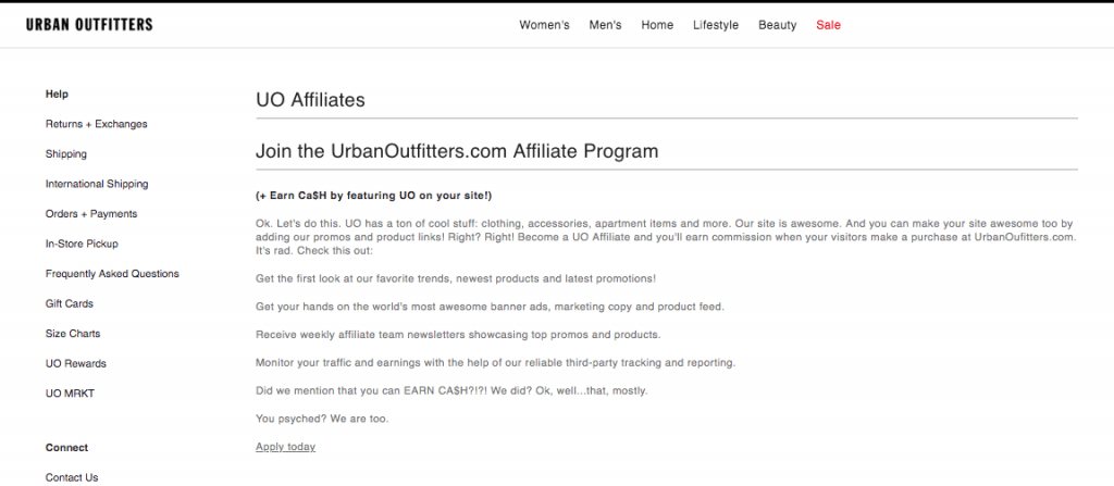 Urban Outfitters Affiliate Program