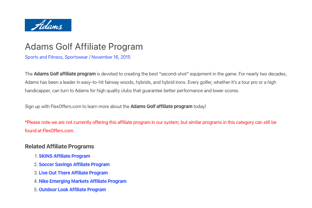 adams golf affiliate program