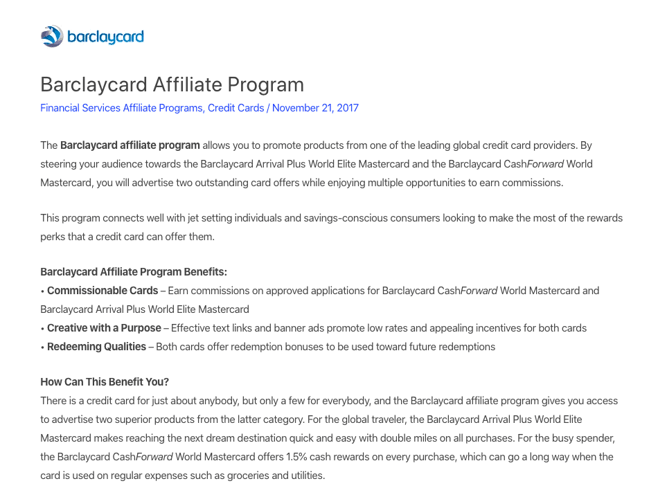 barclaycard affiliate program