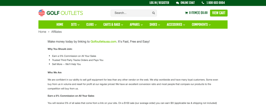 golf outlets usa affiliate programs