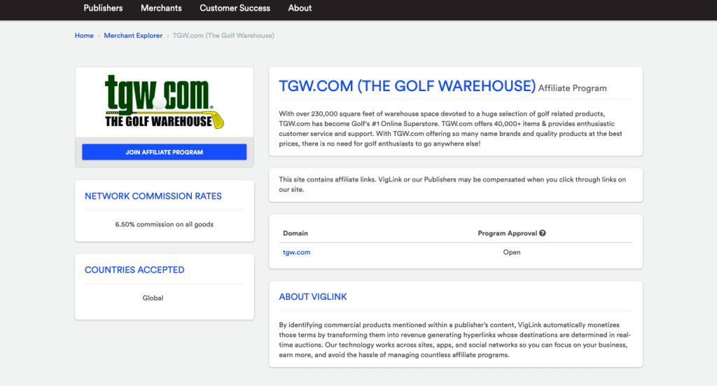 golf warehouse affiliate program