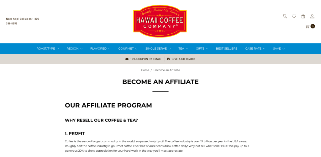 Hawaii Coffee Affiliate Program