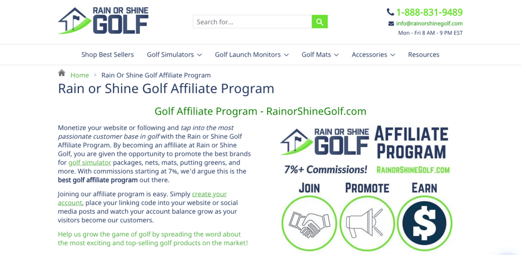 rain or shine golf affiliate program