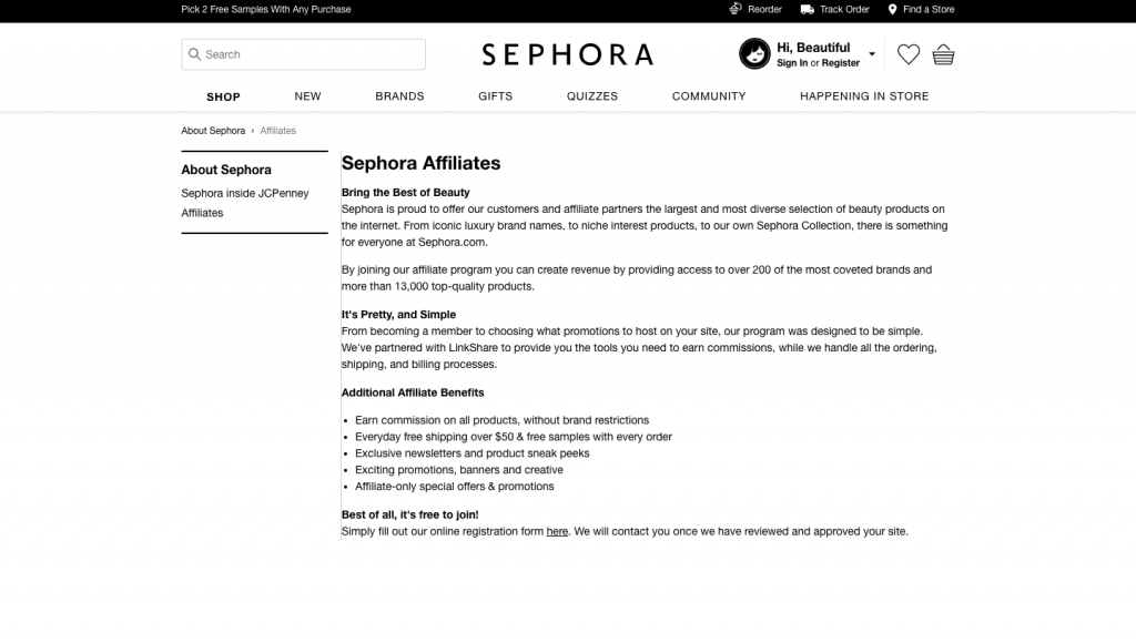 sephora affiliate program