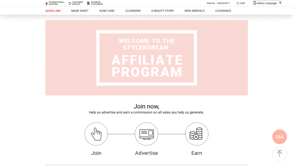 style korean affiliate program