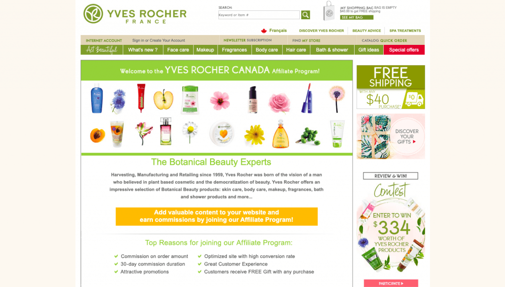 yves rocher france affiliate program