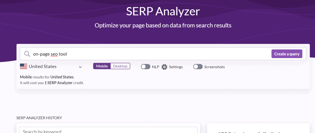 Surfer SEO SERP Analyzer