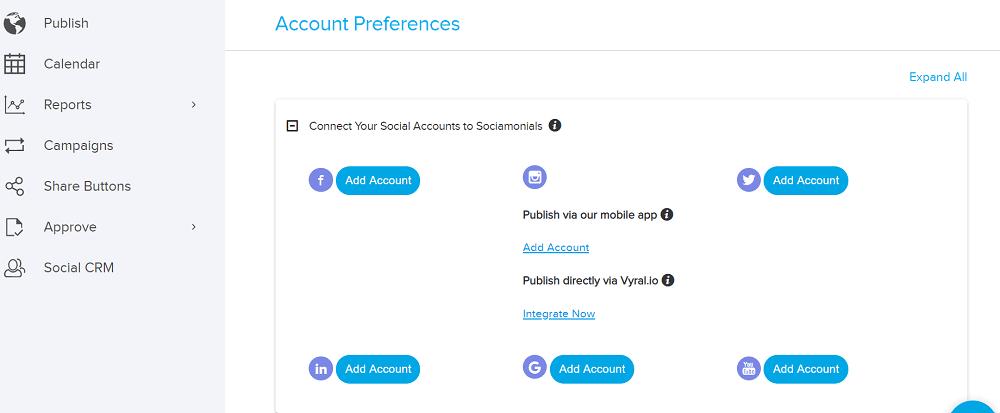Sociamonials Account Dashboard