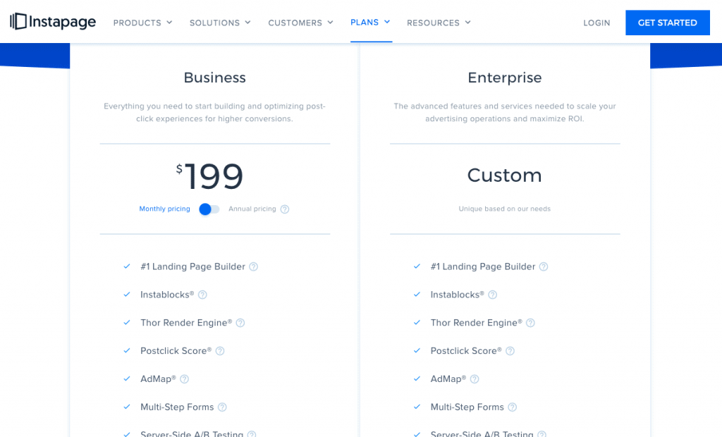 Instapage 2020 Pricing