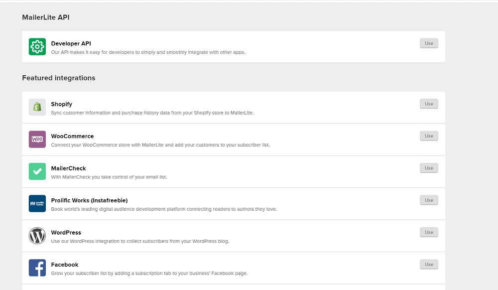 MailerLite Integrations