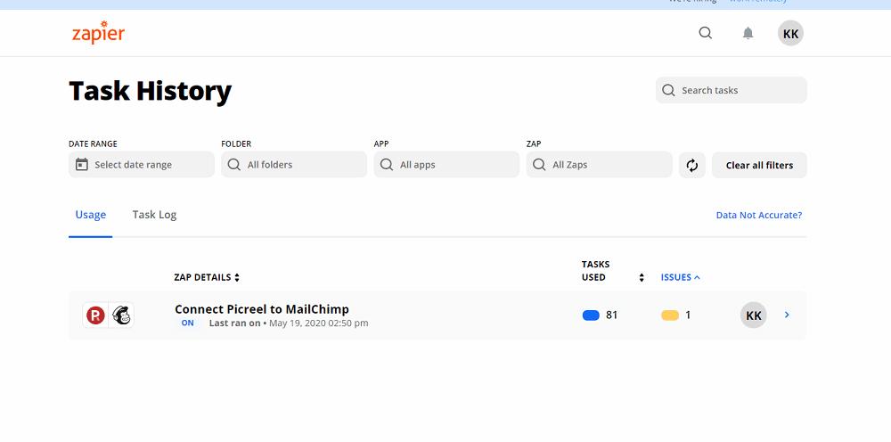 Zapier Connect Picreel To Mailchimp