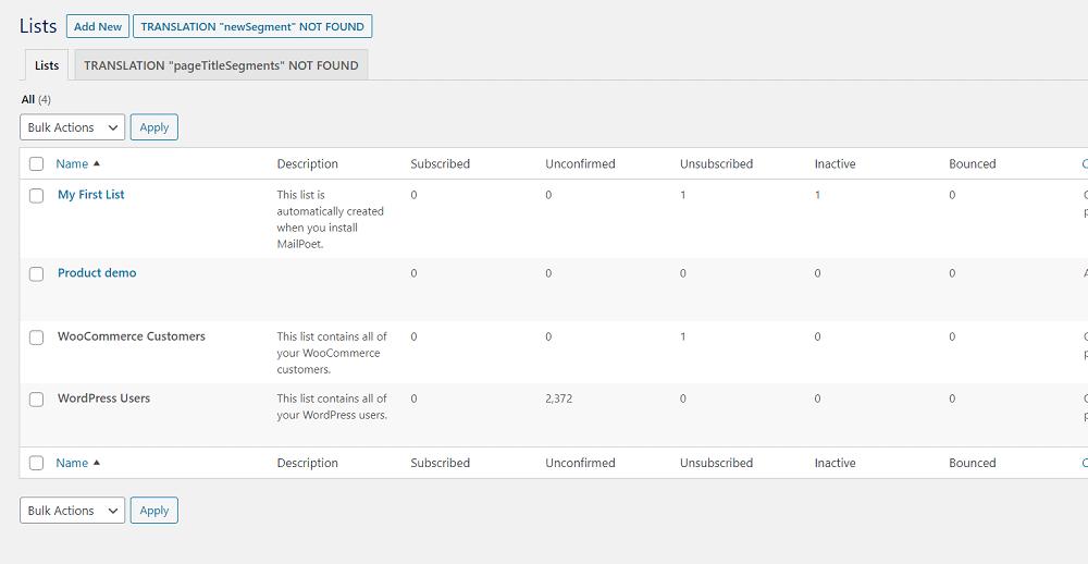 MailPoet List Management