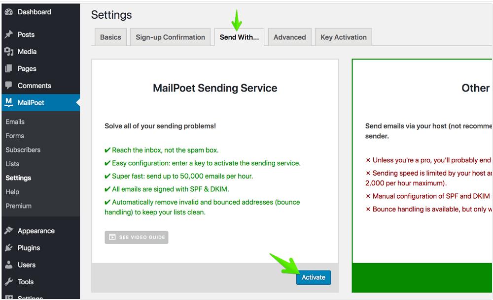 MailPoet Sending Service