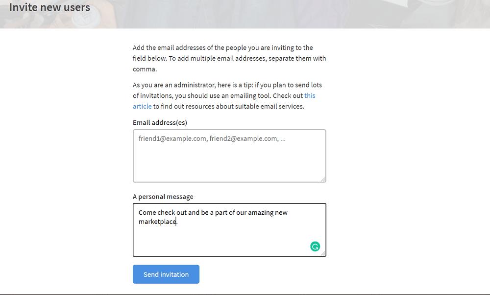Sharetribe User Invite
