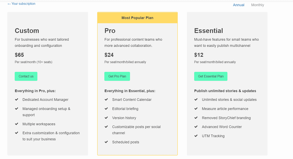 StoryChief Pricing