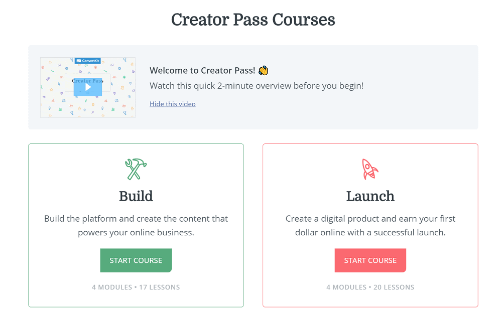 ConvertKit Creator Pass Courses
