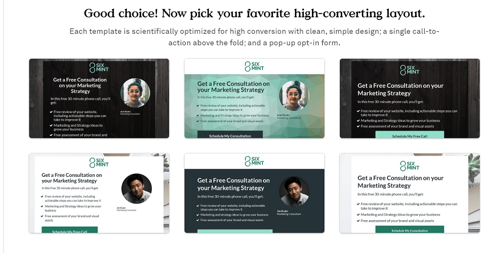 Leadpages Template Choice