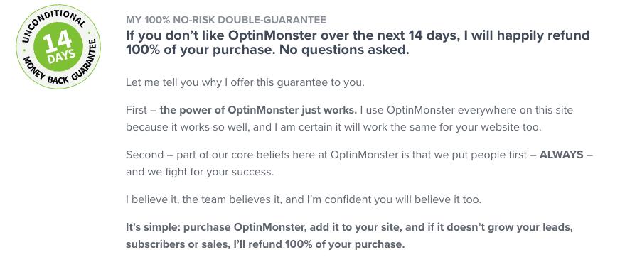 Optinmonster Satisfaction Guarantee