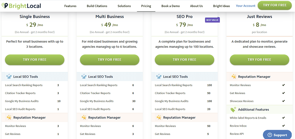 BrightLocal Pricing