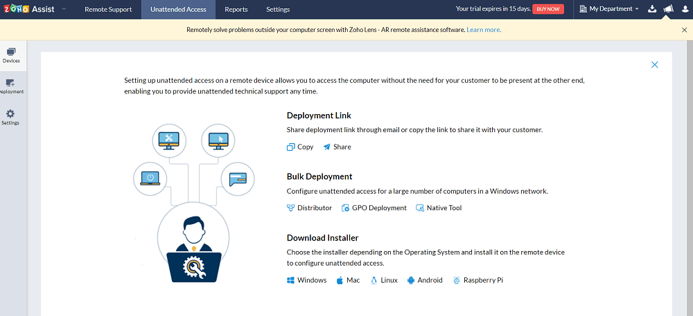 Zoho Assist Unattended Access